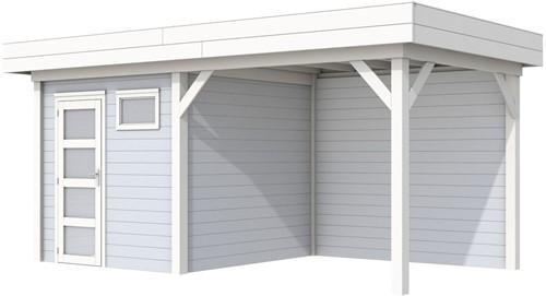 Blokhut Kuifmees met luifel 400, afm. 636 x 253 cm, plat dak, houtdikte 28 mm. - basis en deur wit, wand grijs gespoten