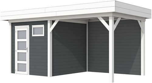 Blokhut Kuifmees met luifel 400, afm. 636 x 253 cm, plat dak, houtdikte 28 mm. - basis en deur wit, wand antraciet gespoten