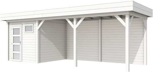 Blokhut Kuifmees met luifel 500, afm. 734 x 253 cm, plat dak, houtdikte 28 mm. - volledig wit gespoten