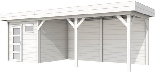 Blokhut Kuifmees met luifel 500, afm. 750 x 250 cm, plat dak, houtdikte 28 mm. - volledig wit gespoten