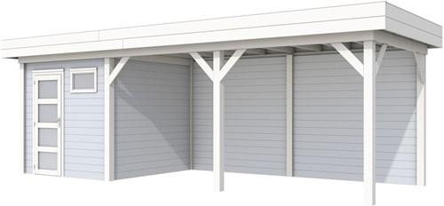 Blokhut Kuifmees met luifel 500, afm. 734 x 253 cm, plat dak, houtdikte 28 mm. - basis en deur wit, wand grijs gespoten
