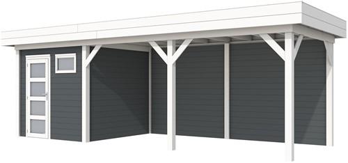 Blokhut Kuifmees met luifel 500, afm. 734 x 253 cm, plat dak, houtdikte 28 mm. - basis en deur wit, wand antraciet gespoten
