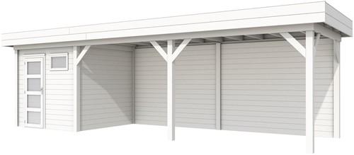 Blokhut Kuifmees met luifel 600, afm. 834 x 253 cm, plat dak, houtdikte 28 mm, - volledig wit gespoten