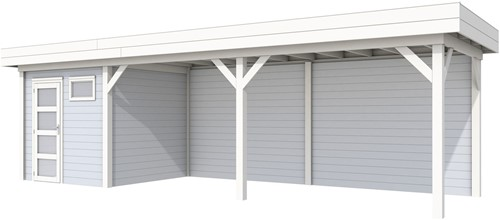 Blokhut Kuifmees met luifel 600, afm. 850 x 250 cm, plat dak, houtdikte 28 mm, - basis en deur wit, wand grijs gespoten