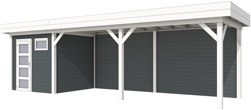 Blokhut Kuifmees met luifel 600, afm. 834 x 253 cm, plat dak, houtdikte 28 mm, - basis en deur wit, wand antraciet gespoten