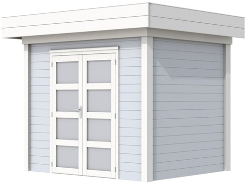 Blokhut Koekoek, afm. 303 x 203 cm, plat dak, houtdikte 28 mm. - basis en deur wit, wand grijs gespoten