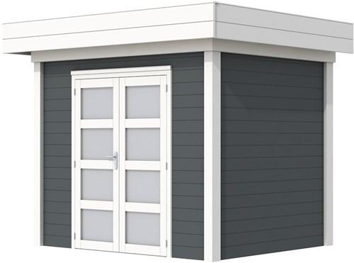 Blokhut Koekoek, afm. 303 x 203 cm, plat dak, houtdikte 28 mm. - basis en deur wit, wand antraciet gespoten