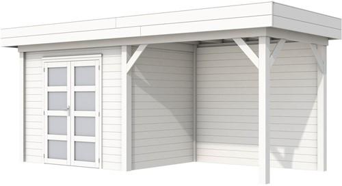 Blokhut Koekoek met luifel 300, afm. 600 x 200 cm, plat dak, houtdikte 28 mm. - volledig wit gespoten
