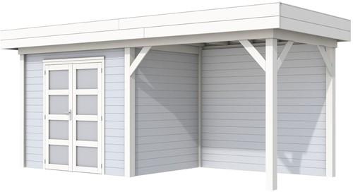 Blokhut Koekoek met luifel 300, afm. 600 x 200 cm, plat dak, houtdikte 28 mm. - basis en deur wit, wand grijs gespoten