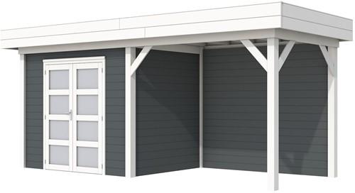 Blokhut Koekoek met luifel 400, afm. 700 x 200 cm, plat dak, houtdikte 28 mm. - basis en deur wit, wand antraciet gespoten