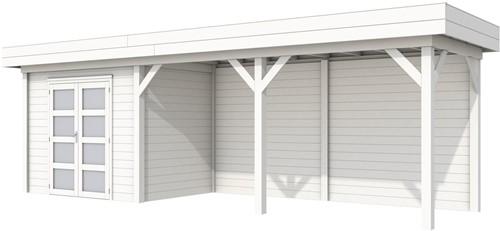 Blokhut Koekoek met luifel 500, afm. 787 x 203 cm, plat dak, houtdikte 28 mm. - volledig wit gespoten