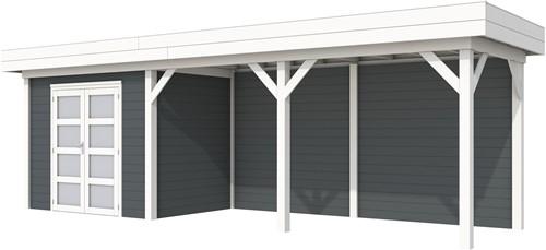 Blokhut Koekoek met luifel 500, afm. 787 x 203 cm, plat dak, houtdikte 28 mm. - basis en deur wit, wand antraciet gespoten