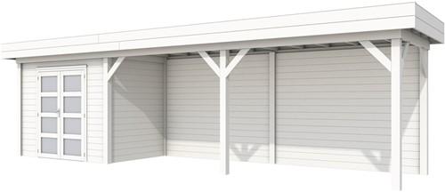 Blokhut Koekoek met luifel 600, afm. 887 x 203 cm, plat dak, houtdikte 28 mm. - volledig wit gespoten