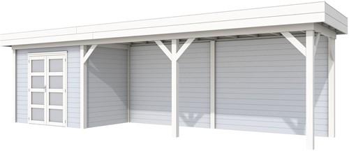 Blokhut Koekoek met luifel 600, afm. 887 x 203 cm, plat dak, houtdikte 28 mm. - basis en deur wit, wand grijs gespoten