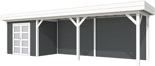 Blokhut Koekoek met luifel 600, afm. 887 x 203 cm, plat dak, houtdikte 28 mm. - basis en deur wit, wand antraciet gespoten