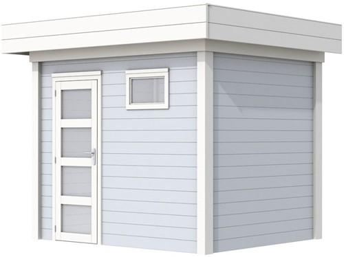 Blokhut Korhoen, afm. 303 x 203 cm, plat dak, houtdikte 28 mm. - basis en deur wit, wand grijs gespoten