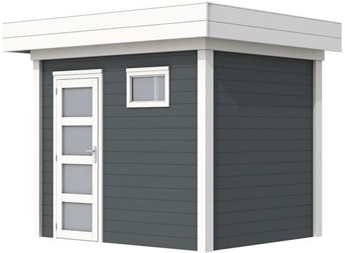 Blokhut Korhoen, afm. 303 x 203 cm, plat dak, houtdikte 28 mm. - basis en deur wit, wand antraciet gespoten
