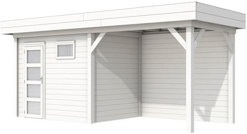 Blokhut Korhoen met luifel van 300 cm, afm. 596 x 203 cm, plat dak, houtdikte 28 mm. - volledig wit gespoten