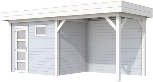 Blokhut Korhoen met luifel van 300 cm, afm. 596 x 203 cm, plat dak, houtdikte 28 mm. - basis en deur wit, wand grijs gespoten