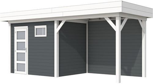 Blokhut Korhoen met luifel van 300 cm, afm. 596 x 203 cm, plat dak, houtdikte 28 mm. - basis en deur wit, wand antraciet gespoten