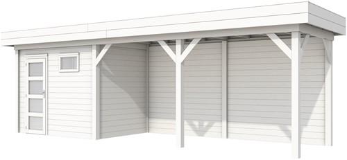 Blokhut Korhoen met luifel van 500 cm, afm. 787 x 203 cm, plat dak, houtdikte 28 mm. - volledig wit gespoten