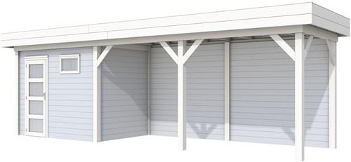 Blokhut Korhoen met luifel van 500 cm, afm. 800 x 200 cm, plat dak, houtdikte 28 mm. - basis en deur wit, wand grijs gespoten