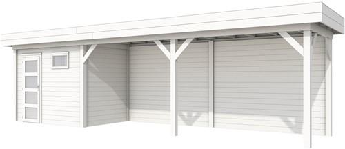 Blokhut Korhoen met luifel van 600 cm, afm. 887 x 203 cm, plat dak, houtdikte 28 mm. - volledig wit gespoten
