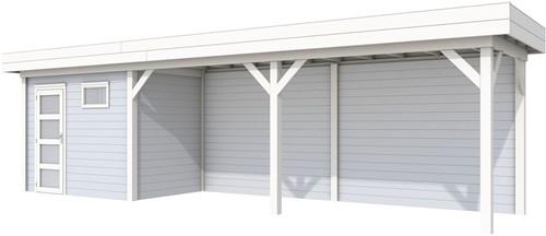 Blokhut Korhoen met luifel van 600 cm, afm. 887 x 203 cm, plat dak, houtdikte 28 mm. - basis en deur wit, wand grijs gespoten