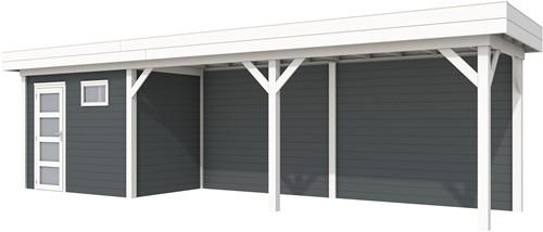 Blokhut Korhoen met luifel van 600 cm, afm. 887 x 203 cm, plat dak, houtdikte 28 mm. - basis en deur wit, wand antraciet gespoten