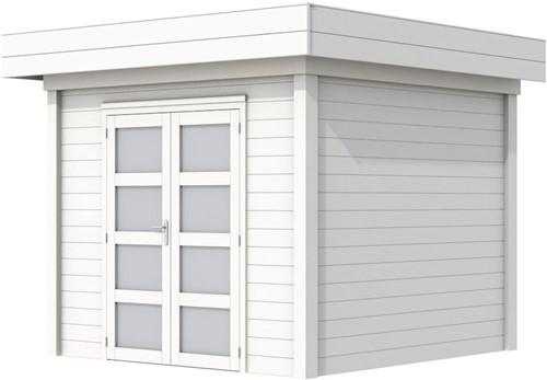 Blokhut Bonte Specht, afm. 303 x 253 cm, plat dak, houtdikte 28 mm. - volledig wit gespoten
