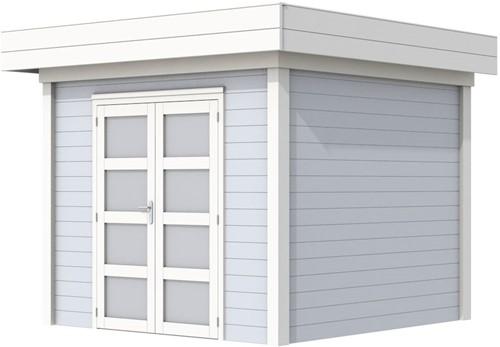 Blokhut Bonte Specht, afm. 303 x 253 cm, plat dak, houtdikte 28 mm. - basis en deur wit, wand grijs gespoten