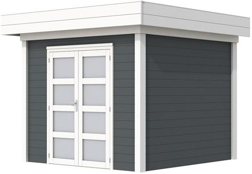 Blokhut Bonte Specht, afm. 300 x 250 cm, plat dak, houtdikte 28 mm. - basis en deur wit, wand antraciet gespoten