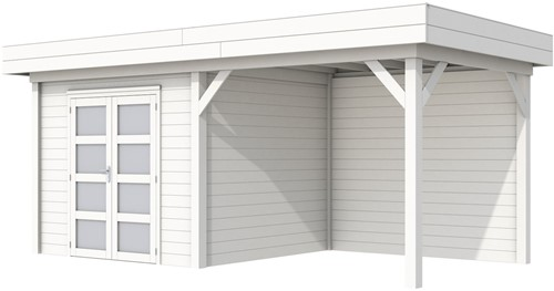 Blokhut Bonte Specht met luifel 300, afm. 600 x 250 cm, plat dak, houtdikte 28 mm. - volledig wit gespoten