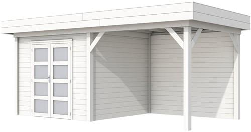 Blokhut Bonte Specht met luifel 400, afm. 689 x 253 cm, plat dak, houtdikte 28 mm. - volledig wit gespoten