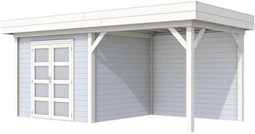 Blokhut Bonte Specht met luifel 300, afm. 596 x 253 cm, plat dak, houtdikte 28 mm. - basis en deur wit, wand grijs gespoten