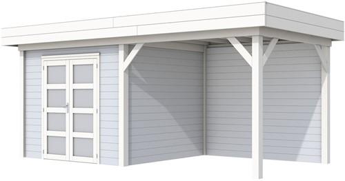 Blokhut Bonte Specht met luifel 400, afm. 700 x 250 cm, plat dak, houtdikte 28 mm. - basis en deur wit, wand grijs gespoten