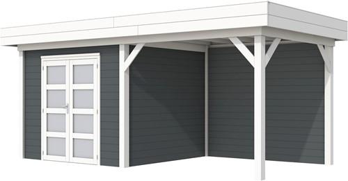 Blokhut Bonte Specht met luifel 300, afm. 600 x 250 cm, plat dak, houtdikte 28 mm. - basis en deur wit, wand antraciet gespoten