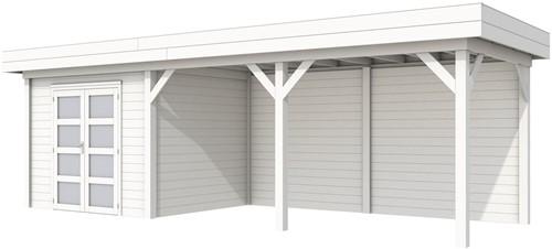 Blokhut Bonte Specht met luifel 500, afm. 800 x 250 cm, plat dak, houtdikte 28 mm - volledig wit gespoten