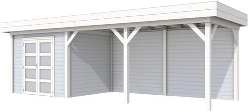 Blokhut Bonte Specht met luifel 500, afm. 787 x 253 cm, plat dak, houtdikte 28 mm - basis en deur wit, wand grijs gespoten
