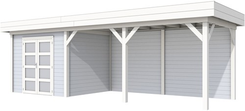 Blokhut Bonte Specht met luifel 500, afm. 800 x 250 cm, plat dak, houtdikte 28 mm - basis en deur wit, wand grijs gespoten