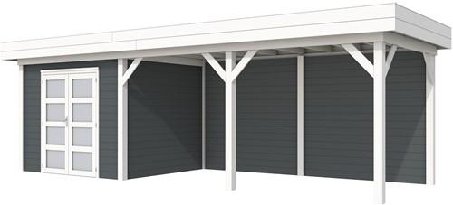 Blokhut Bonte Specht met luifel 500, afm. 787 x 253 cm, plat dak, houtdikte 28 mm - basis en deur wit, wand antraciet gespoten