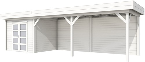 Blokhut Bonte Specht met luifel 600, afm. 887 x 253 cm, plat dak, houtdikte 28 mm. - volledig wit gespoten