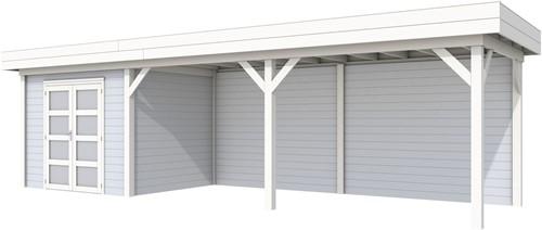 Blokhut Bonte Specht met luifel 600, afm. 887 x 253 cm, plat dak, houtdikte 28 mm. - basis en deur wit, wand grijs gespoten