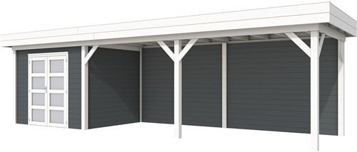 Blokhut Bonte Specht met luifel 600, afm. 887 x 253 cm, plat dak, houtdikte 28 mm. - basis en deur wit, wand antraciet gespoten