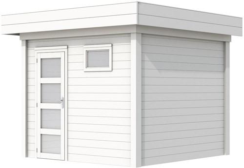 Blokhut Bonte Kraai, afm. 303 x 253 cm, plat dak, houtdikte 28 mm. - volledig wit gespoten