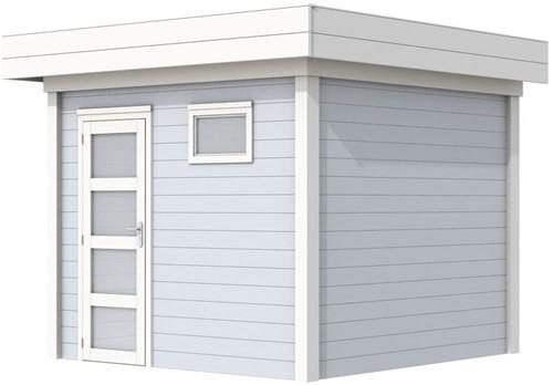 Blokhut Bonte Kraai, afm. 300 x 250 cm, plat dak, houtdikte 28 mm. - basis en deur wit, wand grijs gespoten
