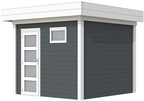 Blokhut Bonte Kraai, afm. 300 x 250 cm, plat dak, houtdikte 28 mm. - basis en deur wit, wand antraciet gespoten
