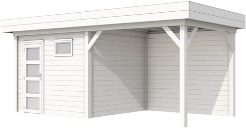 Blokhut Bonte Kraai met luifel 300, afm. 596 x 253 cm, plat dak, houtdikte 28 mm. - volledig wit gespoten