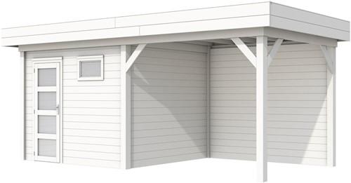 Blokhut Bonte Kraai met luifel 400, afm. 689 x 253 cm, plat dak, houtdikte 28 mm. - volledig wit gespoten