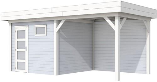 Blokhut Bonte Kraai met luifel 300, afm. 596 x 253 cm, plat dak, houtdikte 28 mm. - basis en deur wit, wand grijs gespoten